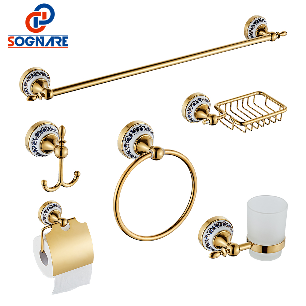 SOGNARE 6pcs Bathroom Accessories Single Towel Bar Robe Hook Paper Holder Cup Holder Soap Box Set