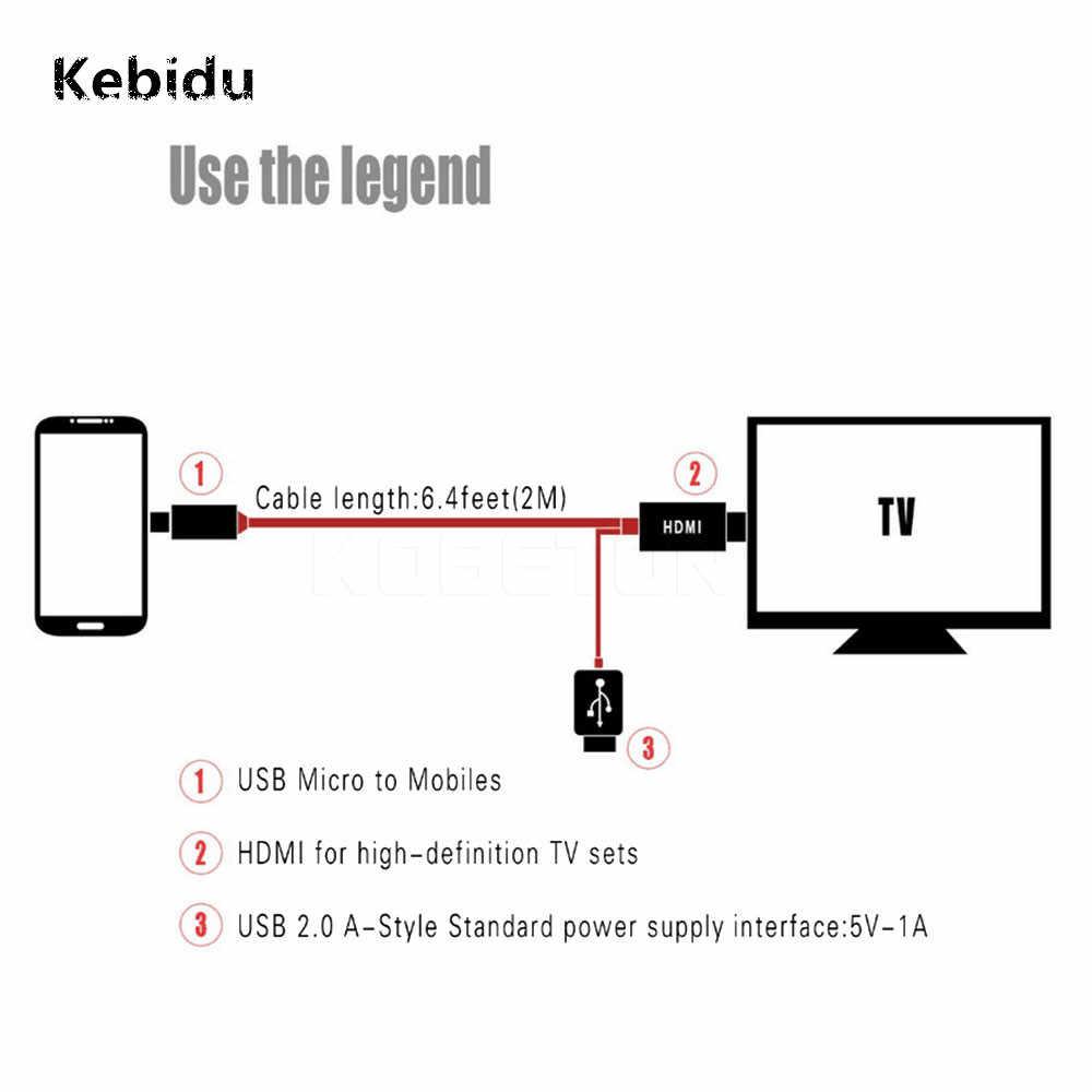 Kebidu Micro USB Ke HDMI Kabel untuk MHL Audio Output Adaptor HDTV Adaptor 1080 P Full HD untuk Samsung Galaxy s2 I9100 S I900