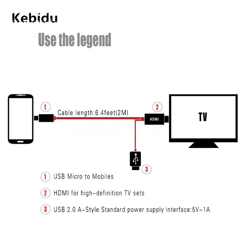 Kebidu Micro USB To HDMI Cable For MHL Output Audio
