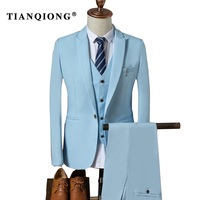 TIAN QIONG Suit Men 2017 Autumn Slim Fit Wedding Suits For Men 3 Piece Jacket Pants