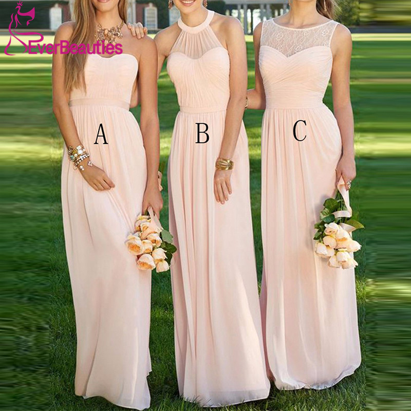 Women s Light Pink Bridesmaid Dress 2019 vestido de la dama de honor Party Gown Wedding