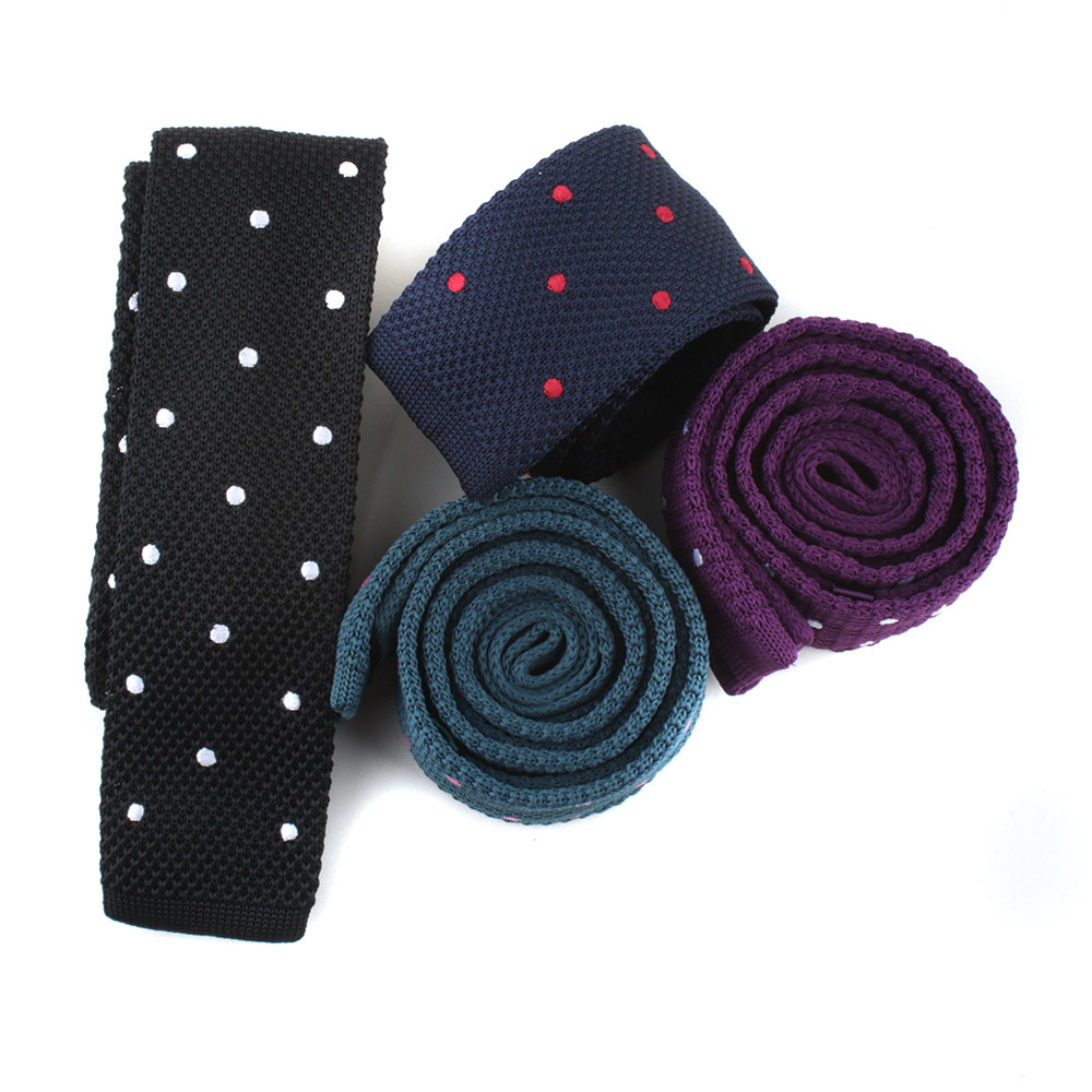 Knitted Tie Male Wave Point Embroidered Polyester Silk Dot Flat Casual Tie Men's Fashion Casual