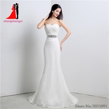 2017 New Sweetheart Ivory Lace Wedding Dresses Plus Size Bridal Gown With Beads Belt Wedding Party Gown