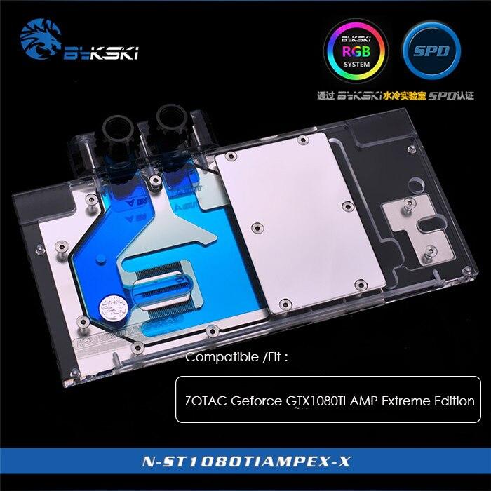 Bykski bloc d'eau pour ZOTAC Geforce GTX1080TI AMP édition extrême, 12 v 4pin, 5 v 3pin lumière en-tête, N-ST1080TIAMPEX-X