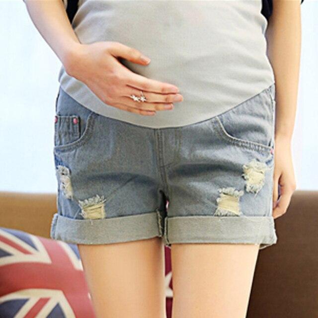 Deporte estilo pantalones cortos de verano pantalones cortos de mezclilla de Maternidad ropa de maternidad pantalones vaqueros de maternidad pantalones de la rodilla-longitud de los pantalones de ropa barata de china
