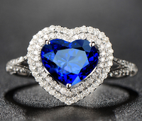 1 карат 925 стерлингового серебра Танзанит в форме сердца кольцо с бриллиантом сапфир man made бриллиантовые Свадебные ювелирные изделия (LA)