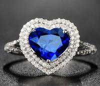 1 carat 925 sterling silver tanzanite heart shaped diamant ring sapphire man made diamond wedding jewelry (LA)
