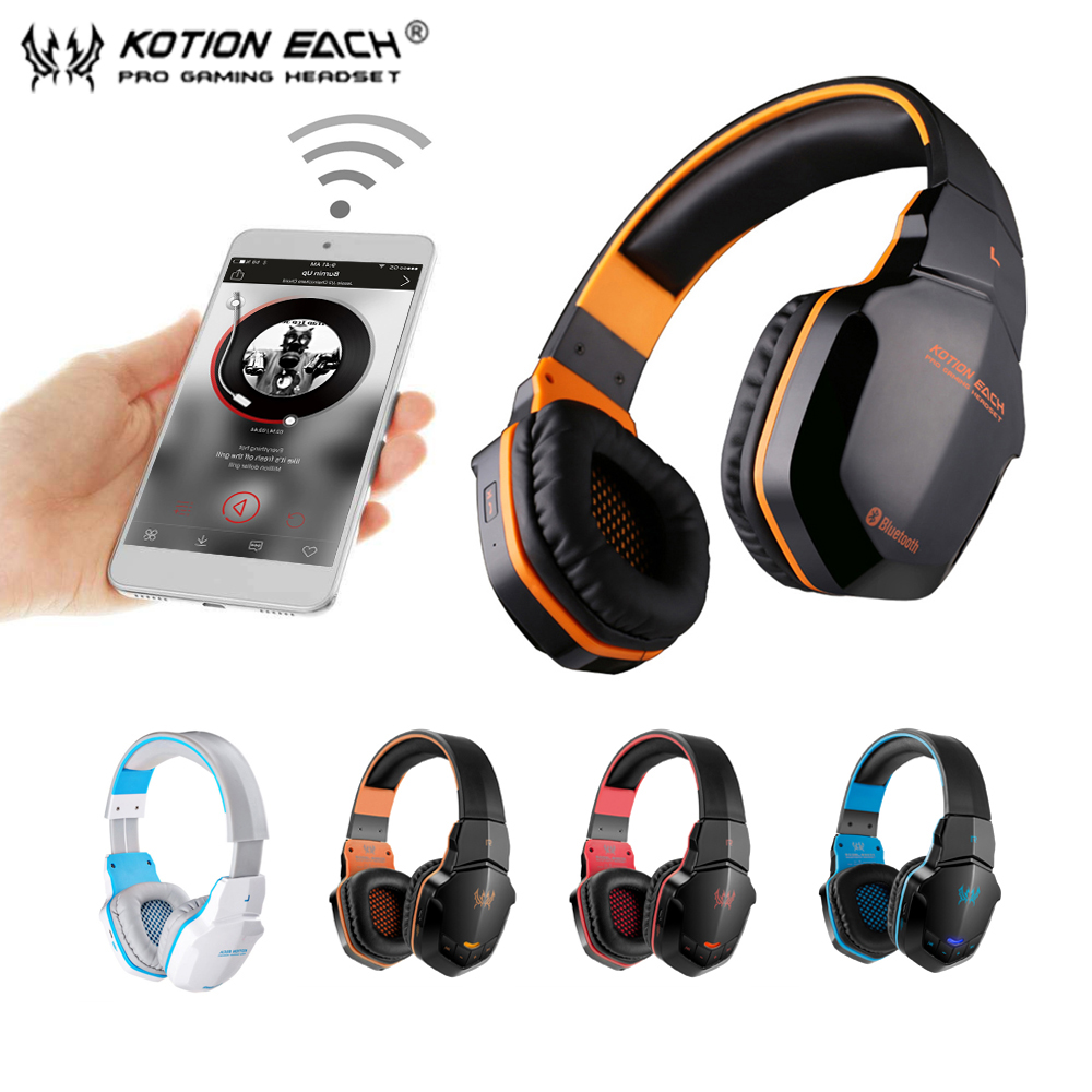KOTION EACH B3505 Wireless Bluetooth Headphones Headband Gaming Headset W/ Microphone BT4.1 Stereo Earphones For iPhone Xiaomi oneodio professional studio headphones dj stereo headphones studio monitor gaming headset 3 5mm 6 3mm cable for xiaomi phones pc