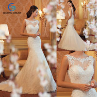 2017 Newest Fashion White Sexy Mermaid Dress Bride Lace Sleeveless Wedding Dress Elegant Plus Size Customzie