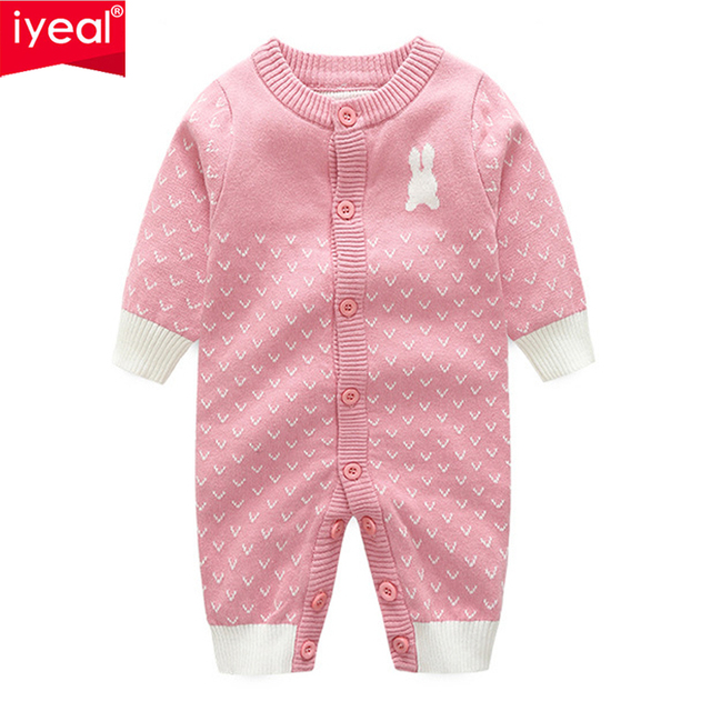 IYEAL Cute Knitted Rabbit Tail Patchwork Romper Newborn Infant Baby Boy Girl Long Sleeve Jumpsuit Kids Outfits Toddler Clothes