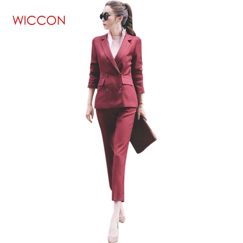 Women's OL Style Fashion Black Suits Sets / Female Business Coats Solid Color Double Button Suits Blazers +Pants Ankle Length