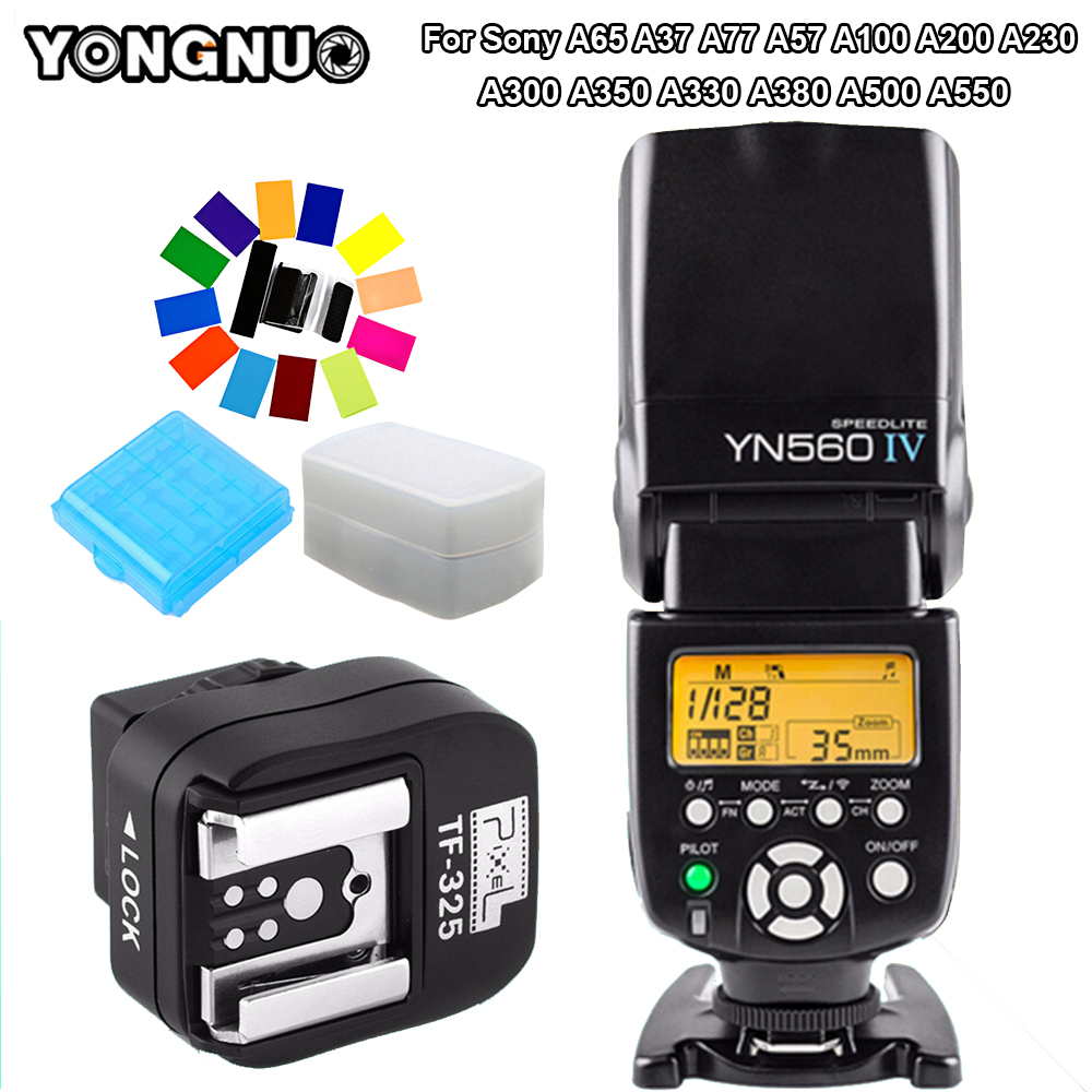 YONGNUO YN560IV YN560 IV Speedlite & TF-325 Converter For Sony A65 A37 A77 A57 A100 A200 A230 A300 A350 A330 A380 A500 A55Camera usb charge data cable sync pc cord for sony camera cybershot dsc w800 b s h90 h100 h200 h300 h400 j20 a100 a200 a300 a350