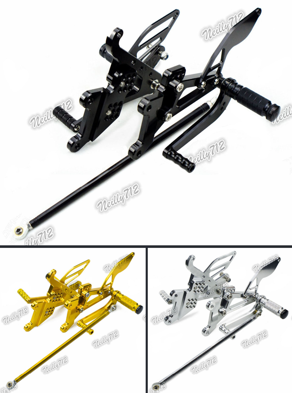 Motorcycle CNC Adjustable Rider Rear Sets Rearset Footrest Foot Rest Pegs For Yamaha YZF R6 2003