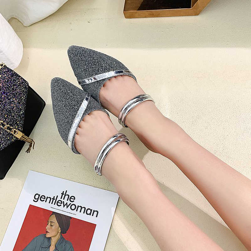 2019 New Summer Gold Med Square Heels Slip On Slippers Bling Mules Women Pointed Toe Sandals Ladies Sexy Shoes XWT1545