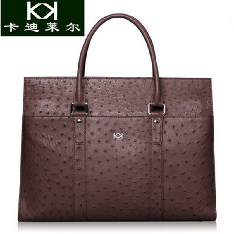 KADILER 2018 new hot free shipping real ostrich leather bags men handbag cross section luxurious l leisure business men handbag mengzhongmeng south africa ostrich leather women handbag fashion lady business bags briefcases female cross section 5 color