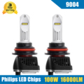 2x 100W 16000LM 9004 HB1 LED Headlight Conversion Kit High/Low Beam Bulbs 5700-6000K Car Truck Replacement Super Bright Headlamp