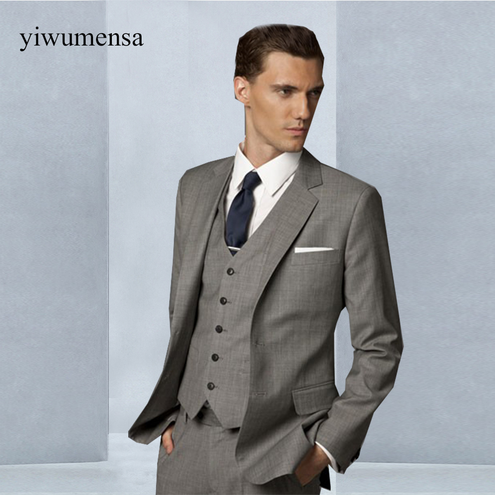 yiwumensa costumes hommes Men suit Set Side Slit Grey Groom Tuxedos ...