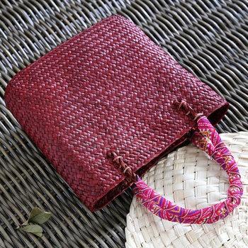 Vintage straw tote bag storage bag woven shopping bag shoulder bag ethnic style woven handbag 3