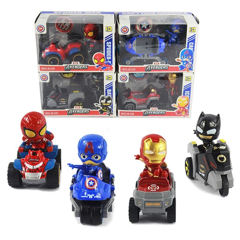 Galleria fotografica Avengers Batmobil Model Metal Car PVC Figure Marvel Super Hero Iron Man Batman Captain America SpiderMan Figurines Toys for Kids