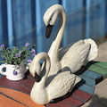 2pcs/set handmade wooden Swan model for decoration.