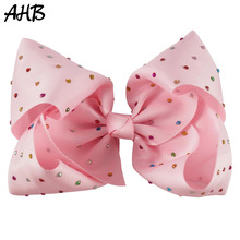 AHB 7 Large Hair Bows with Colorful Rhinestones for Girls Clips Bowknot Hairgrips Fashion Hairbows Dance Party Headwear
