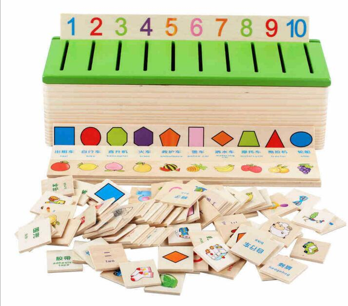 Montessori Educational Wooden Toys For Children Preschool Alphabet Classification Box Math Car Abacus Learning Baby Boy Girl Kid