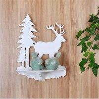 Beyaz Noel Ağaçları Ahşap Duvar Tek Raf Ev Dekorasyonu Depolama Tutucular Oturma Odası Mutfak Rafları
