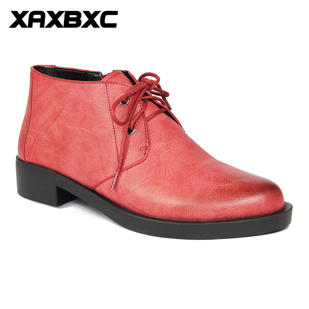 XAXBXC 2017 Retro British Autumn Red Brogues Lace-Up Short Ankle Boots Warm Women Boots Handmade Casual Lady Shoes keddo womens lace up brogues