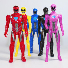 5PCS/Lot 17cm Action Figure Dinosaur team Model Power with The joint can move Led Light toy