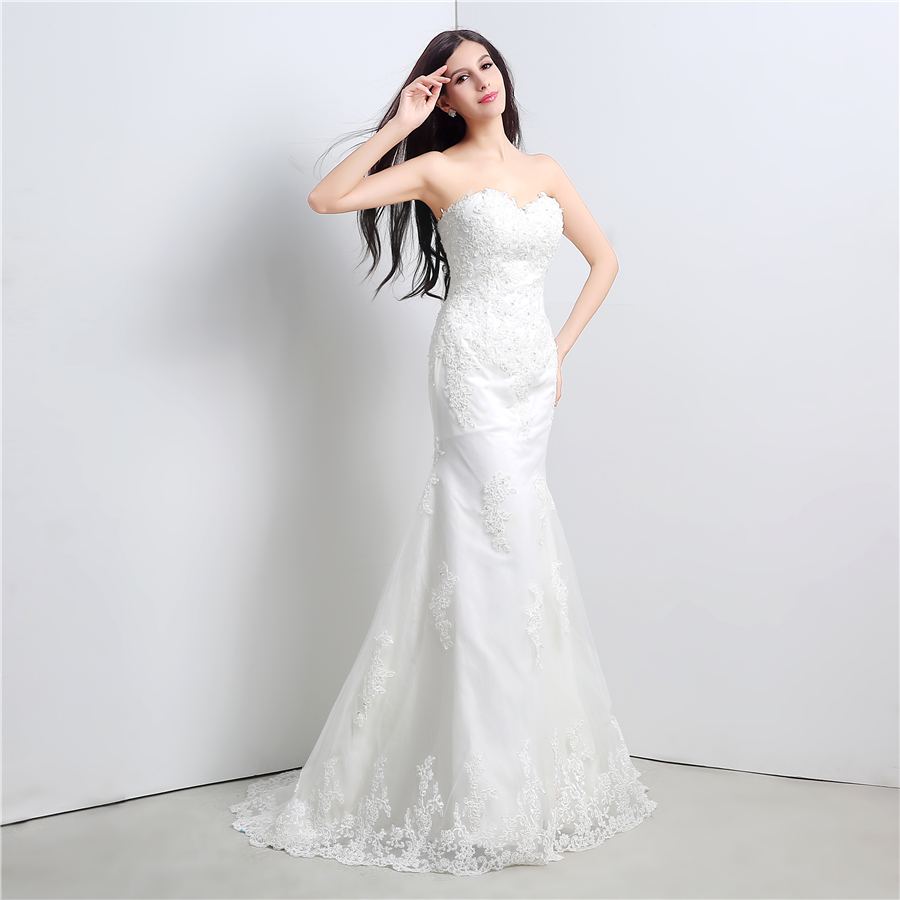 In Stock White/Ivory Applique Lace With Beading Wedding Dress Bandage Dropped Bridal Dress Robe De Mariage Vestido De Noiva 5