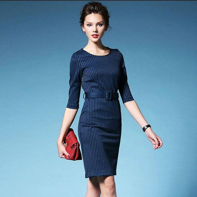 2016 New Autumn Vintage Dresses font b Women b font Business Casual Slim Elegant O neck