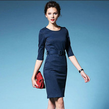 2016 New Autumn Vintage Dresses Women Business Casual Slim Elegant O-neck Striped Wear To Work Office Dresses Vestidos With Belt