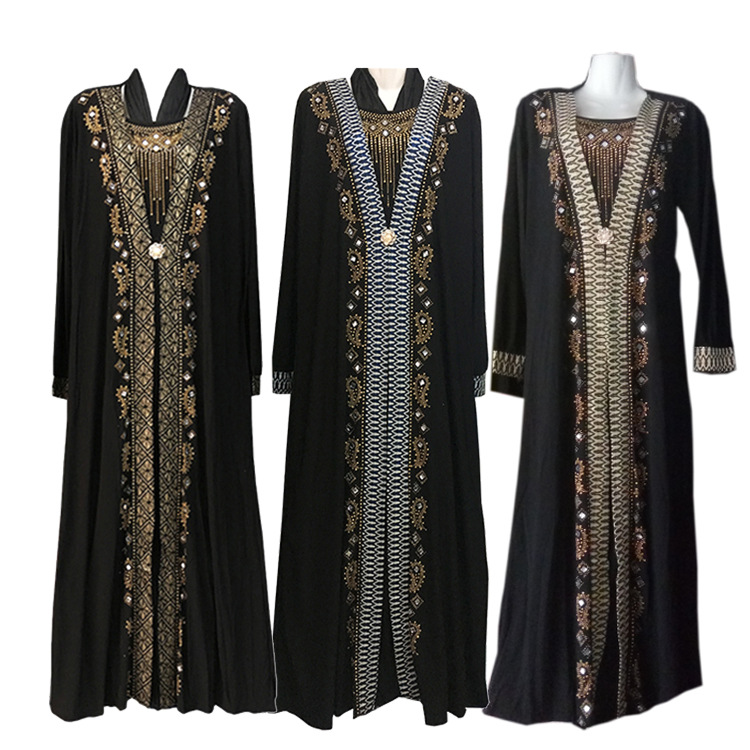 Free Shipping Muslim Black Abaya Islamic Clothing For Women Embroidery Rhinestone Dubai Kaftan Robe Dress Turkish Abaya