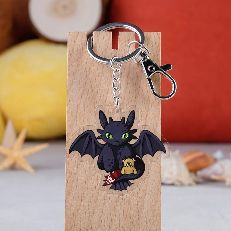 10 Style How To Train Your Dragon 3 Toothless Keychain Acrylic Twoside Print Cartoon Figures Keyrings Portachiavi Children Toys in Action Toy Figures from Toys Hobbies