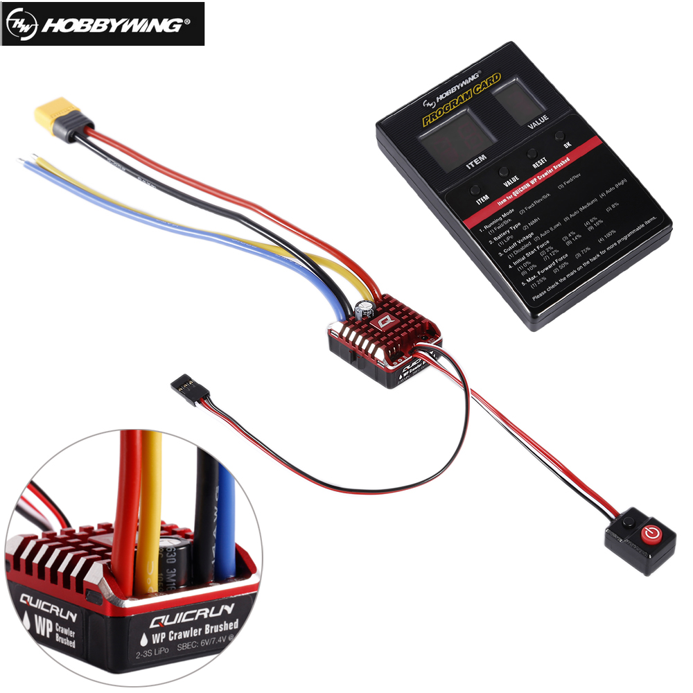 Hobbywing QuicRun 1:10 1/8 WP Crawler Brush Brushed 80A Electronic Speed Controller Waterproof ESC With Program box LED BEC hobbywing quicrun wp 1080 crawler waterproof brushed esc build in bec 2 3s lipo with led programing card for 1 10 1 8 rc car