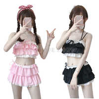 New Arrival Women Lolita Bikini Color Pink and Black Swim Wear Hollow Out Hem Multilayer biquini Women Swimsuit