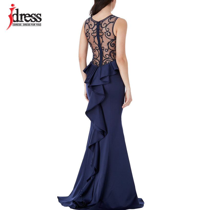 IDress Elegant Embroidery Beading Summer Dress Bodycon Backless Evening Maxi Dress Ladies Wedding Party Dress Vestidos Verano