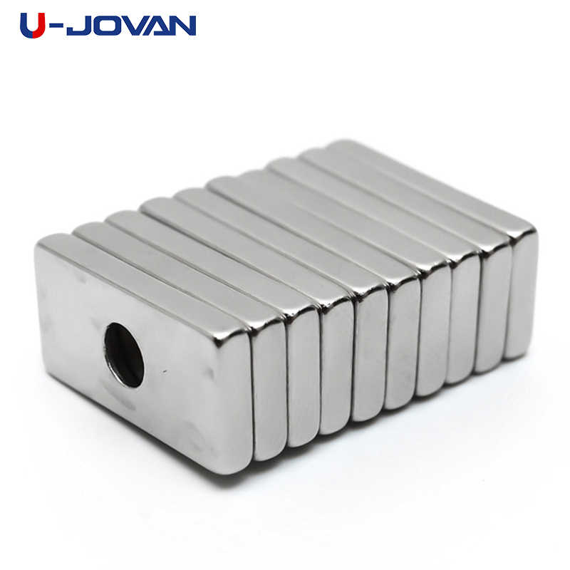 U-JOVAN 10 pcs 20x10x3mm 4mm Buraco Anel Bloco N35 Super Strong Rare Earth Neodímio Ímã de Geladeira ímãs
