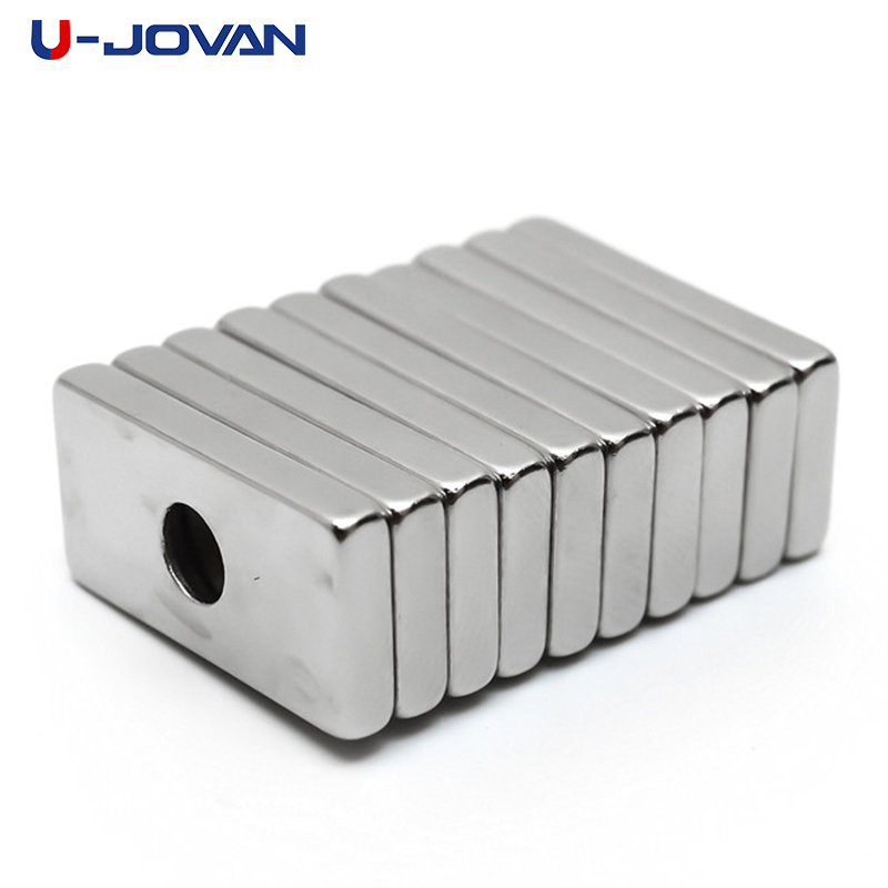 U-JOVAN 10pcs 20 x 10 x <font><b>3</b></font> <font><b>mm</b></font> 4mm Hole N35 Super Strong Rare Earth <font><b>Ring</b></font> Block Neodymium Magnet Fridge Magnets image