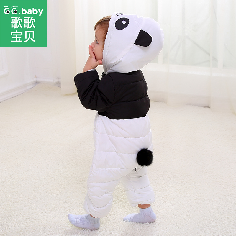 Down Cotton Baby Panda Winter Overalls Kids Boy Hooded Baby Clothing Girl Newborn Romper Long Sleeve Jumpsuit Zipper Baby Onesie baby overalls long sleeve rompers clothing cotton dog anima 2017 new autumn winter newborn girl boy jumpsuit hat indoor clothes
