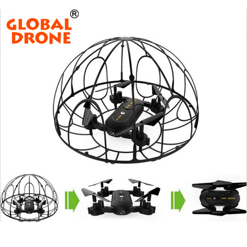 Global Drone Foldable  Selfie Drone wifi phone control FPV Folding Mini Tumbler Remote Control Full Protection Frame with HD Cam рубашки