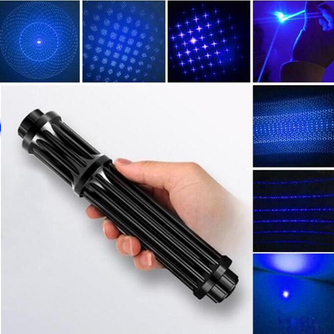 Plus Puissant Militaire 100000 m 450nm Bleu Pointeurs Laser SOS lampe de Poche Brûler L'allumette Bougie Cigarette Allumée Méchants LAZER + Boîte
