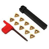SER1212H16 CNC Tool Holder 10Pcs 16ER AG60 Golden Turning Tips Threading Insert W Wrench For Holder