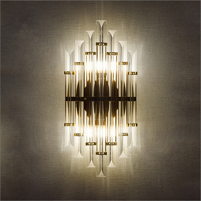 цена на Modern LED Crystal Wall Sconces Bedroom Light Luminaire Home Lighting personalized background bedside wall lamp H50cmD25cm