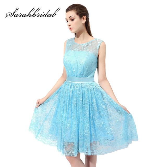 Sky Blue Lace A Line Prom Dresses Knee Length Lace Up Back Pretty ...