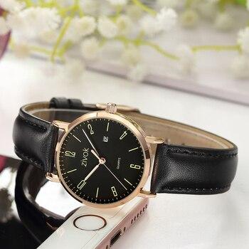0c9b71903f6b Zivok relojes de mujer a la moda reloj de pulsera de cuero de cuarzo  femenino para mujer