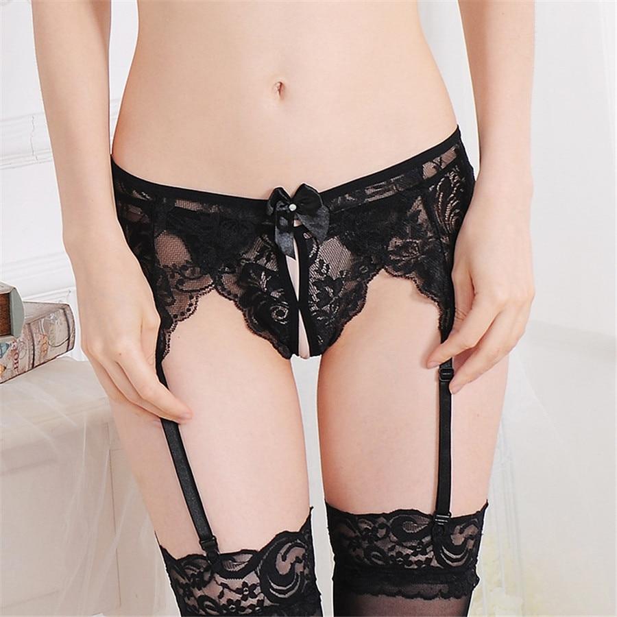 9cbf3c0af51 Women s Sexy Bondage Lingerie Sexy Suspender Belt Sheer Lace Wedding Garter  Belts for Women Top Thigh Highs Wiht Stocking