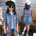 Retail 2016 new girls denim jacket girls jacket Autumn big virgin child leopard cowboy coat children's clothing 3-12 years 1