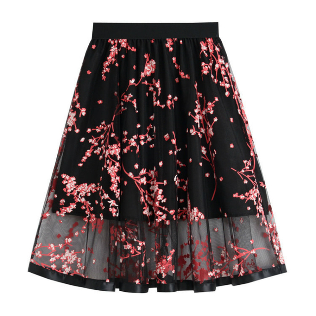 Summer Lace Skirts Womens High Waist Sexy Ball Gown Skirt Flower Print Mesh  Lace Medium Skirt Beautiful Ladies Female Skirt Hot eae81f881f5e