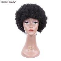 6 pouces Funky Hippie Perruque avec Réglable Boucle Respirant Afro Crépus Bouclés Synthétique Perruque de Partie De Costume D'or Beauté